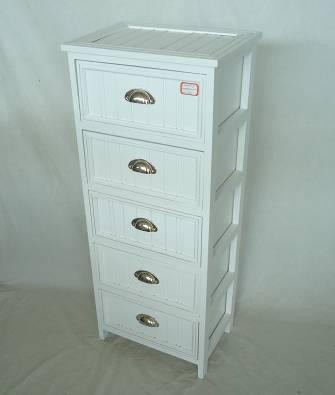 Home Storage Cabinet White-Painted Paulownia Wood With 5 Drawers