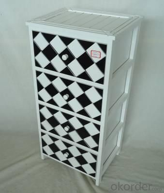 Home Storage Cabinet White-Painted Paulownia Wood With 4 Black And White Plaid Pattern Two-Tone Drawers