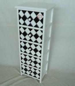Home Storage Cabinet White-Painted Paulownia Wood With 5 Two-Tone Drawers