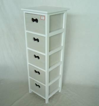 Home Storage Cabinet White-Painted Paulownia Wood Frame With 5 Washed-Grey Drawers