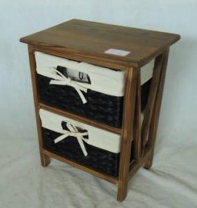Home Storage Cabinet Roasted Pine Wood With 2 Stained Waterhyacinth Baskets With Liner