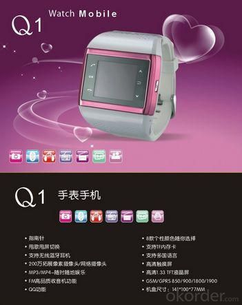 Mobile Phones Android Smart Watch Q1 SNS Touch Screen Bluetooth USB
