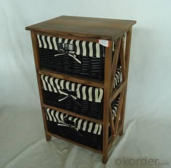 Home Storage Cabinet Roasted Pine Wood With 3 Stained Wicker Baskets With Liner