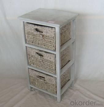 Home Storage Cabinet Washed-Grey Paulownia Wood With 3  Maize Baskets