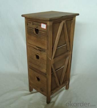 Home Storage Cabinet Roasted Pine Wood Cabinet With 3 Drawers