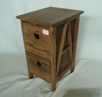 Home Storage Cabinet Roasted Pine Wood Cabinet With 2 Drawers
