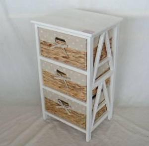Home Storage Cabinet Roasted White Paulownia Wood With 3 Natural Waterhyacinth Baskets With Liners