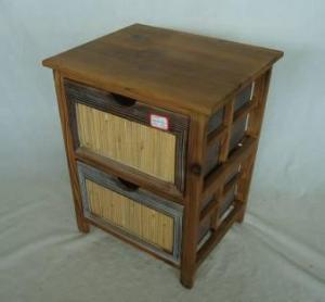 Home Storage Cabinet Roasted Pine Wood Frame With 2 Drawers