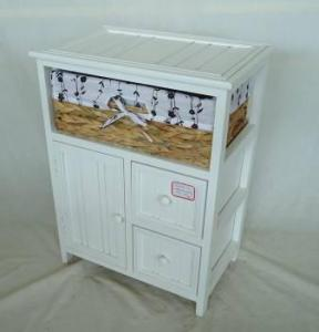 Home Storage Cabinet White-Painted Paulownia Wood With 1 Natural Waterhyacinth Basket With Liner
