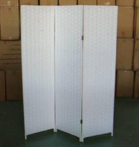 Home Storage Cabinet Flat Paper Woven Over  Wood Frame Room White Divider(3 Panels)