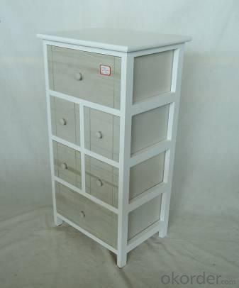 Home Storage Cabinet White Paulownia Wood Frame With 6 Washed-Grey Drawers