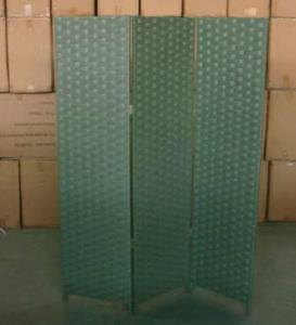Home Storage Cabinet Flat Paper Woven Over  Wood Frame Room Gray Divider(3 Panels)
