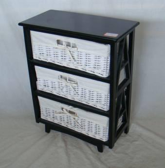 Home Storage Cabinet Black-Painted Paulownia Wood With 3 White  Wicker Baskets With Liners
