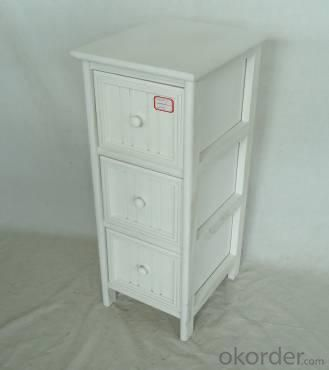 Home Storage Cabinet White Water-Painting Paulownia Wood With 3 Round Zipper Drawers