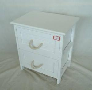 Home Storage Cabinet White-Painted Paulownia Wood With 2 Cotton Handle Drawers