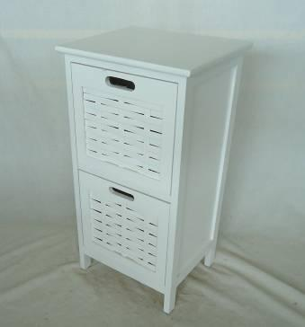 Home Storage Cabinet White-Painted Paulownia Wood Cabinet With 2 Bamnboochip Fronted Drawers