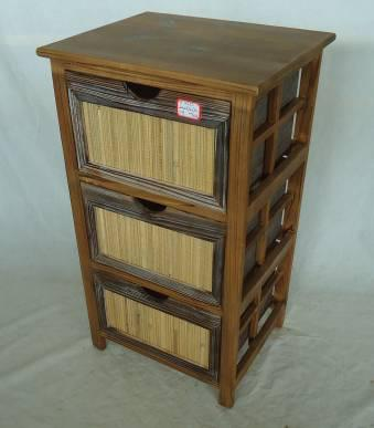 Home Storage Cabinet Roasted Pine Wood Frame With 3 Drawers