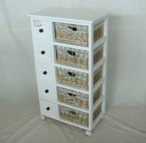 Home Storage Cabinet White-Painted Paulownia Wood With 5 Washed-Grey Wicker Linen Baskets With Wheel