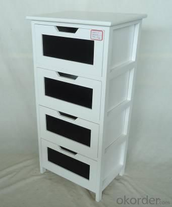 Home Storage Cabinet White Painting Paulownia Wood Frame With 4 Chalkboard Drawers