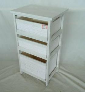 Home Storage Cabinet Roasted-White Paulownia Wood Cabinet With 3 Paper Twist Drawers
