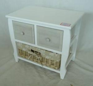 Home Storage Cabinet White-Painted Paulownia Wood With 2 Washed-Grey Drawers And 1 Wicker Basket With Liner