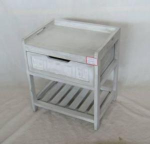Home Storage Cabinet Washed-Grey Paulownia Wood Bench