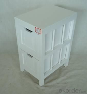 Home Storage Cabinet White-Painted Paulownia Wood With 2 Drawers