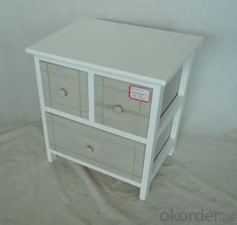 Home Storage Cabinet White Paulownia Wood Frame With 3 Washed-Grey Drawers