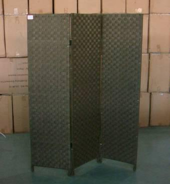 Home Storage Cabinet Nylon Strap Woven Over Wood Frame Room Divider (3 Panels)