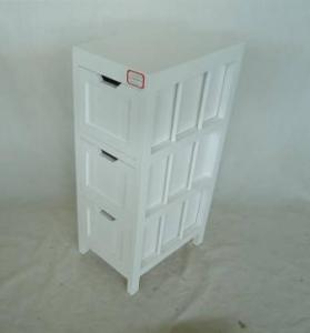 Home Storage Cabinet White-Painted Paulownia Wood With 3 Drawers