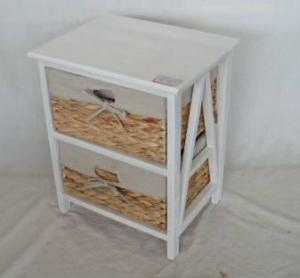 Home Storage Cabinet Roasted White Paulownia Wood With 2 Natural Waterhyacinth Baskets With Liners