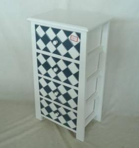 Home Storage Cabinet White-Painted Paulownia Wood With 4 Plaid Pattern Two-Tone Drawers