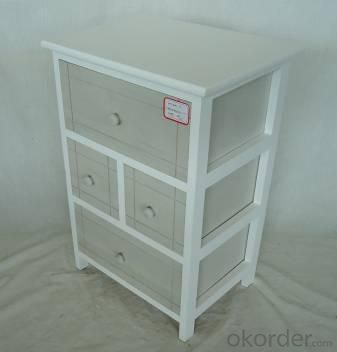 Home Storage Cabinet White Paulownia Wood Frame With 4 Washed-Grey Drawers