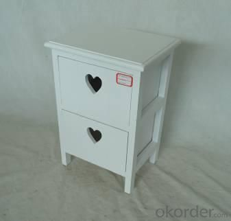 Home Storage Cabinet White-Painted Paulownia Wood With 2 Heart-shaped Drawers