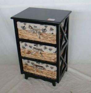 Home Storage Cabinet Black-Painted Paulownia Wood With 3 Natural Waterhyacinth Baskets With Liners