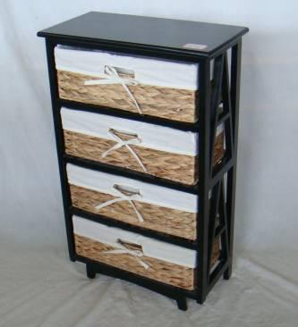 Home Storage Cabinet Black-Painted Paulownia Wood With 4 Natural Waterhyacinth Baskets With Liners
