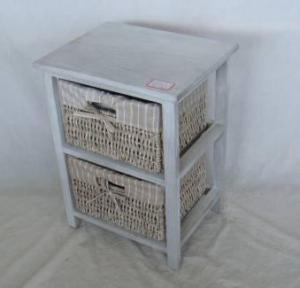 Home Storage Cabinet Washed-Grey Paulownia Wood With 2  Maize Baskets