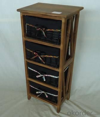 Home Storage Cabinet Roasted Pine Wood With 4 Stained Wicker Baskets With Liner