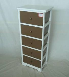 Home Storage Cabinet White Paulownia Wood Frame With 5 Painting Grey Color Drawers