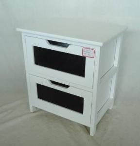 Home Storage Cabinet White Painting Paulownia Wood Frame With 2 Chalkboard Drawers