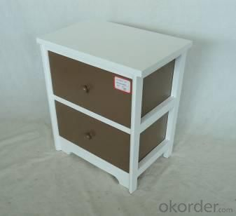 Home Storage Cabinet White Paulownia Wood Frame With 2 Painting Grey Color Drawers