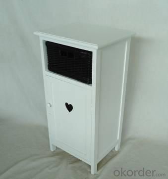 Home Storage Cabinet White-Painted Paulownia Wood With 1 Wicker  Basket With Liner