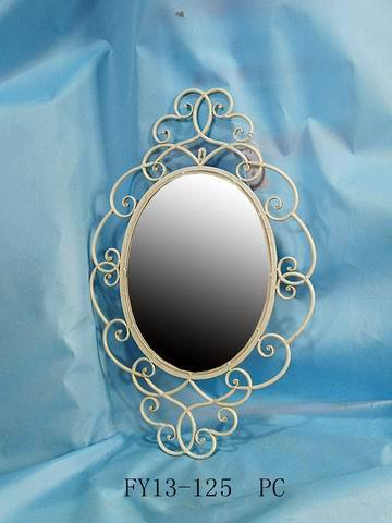 Antique Home Decoration Metal Oval Wall Decoration With Mirror
