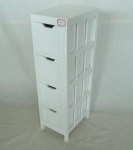 Home Storage Cabinet White-Painted Paulownia Wood With 4 Drawers