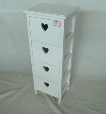 Home Storage Cabinet White-Painted Paulownia Wood With 4 Heart-shaped Drawers