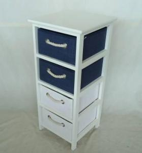 Home Storage Cabinet White-Painted Paulownia Wood Cabinet With 4 Paper Cloth Baskets