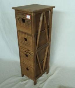Home Storage Cabinet Roasted Pine Wood Cabinet With 4 Drawers