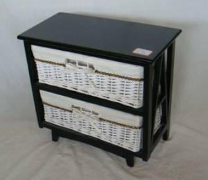 Home Storage Cabinet Black-Painted Paulownia Wood With 2 White  Wicker Baskets With Liners