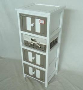 Home Storage Cabinet White-Painted Paulownia Wood With 1 Wicker Basket And 3 Drawers