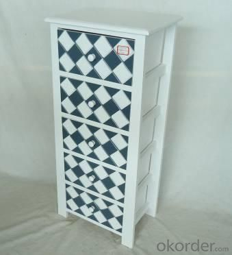Home Storage Cabinet White-Painted Paulownia Wood With 5 Plaid Pattern Two-Tone Drawers